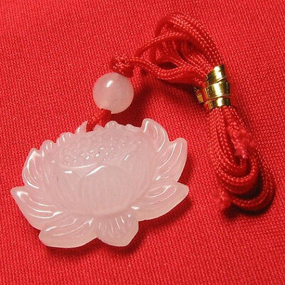 Delicate Carved White Jade Open Bud Lotus Flower Pendant with silk cord
