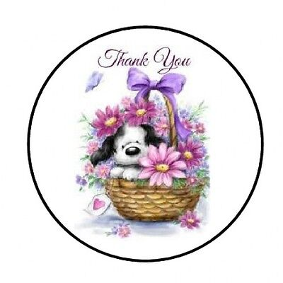 48 Thank You Puppy Flowers Envelope Seals Labels Stickers 1 2  Round