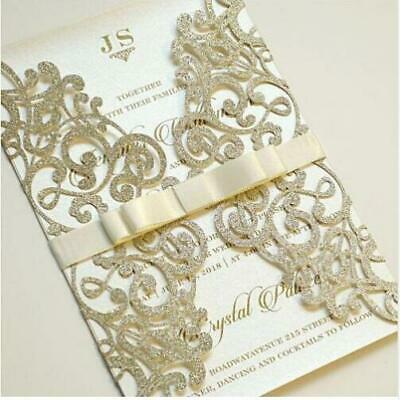 1/10/50 Glitter Silver Gold Wedding Business Invitation Card Cover With Envelope](Gold Invitations)