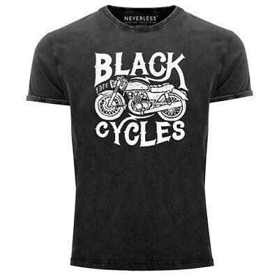 Herren T-Shirt Vintage Washed Motorrad Biker Retro Slim Fit Neverless®