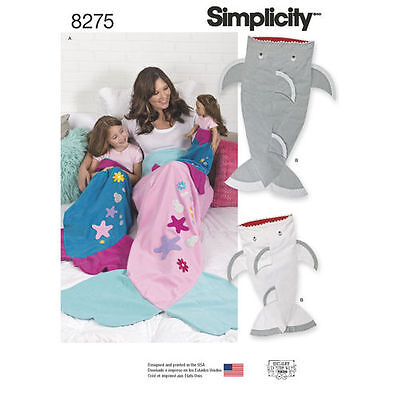Simplicity 8275 Mermaid & Shark Tail Blankets for Adult, Child & Doll Pattern - Shark Costume For Child