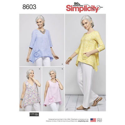 Simplicity 8603 Sewing Pattern Misses Size 6 XS - 24 XL Loose Fit Pullover Heigl