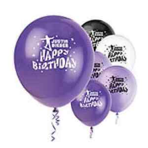 Justin Bieber Birthday Party Latex Balloons 12in 8ct