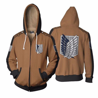 Anime Attack on Titan Hoodie Shingeki no Kyojin Zipper Sweatshirt Hooded Coat - Attack On Titan Coat