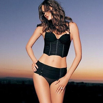 2Pc Underwire Cropped Ruche Lace Up Bustier Bra Top & G-String Panties Set 8047