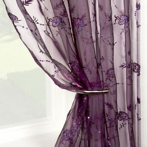 Purple Sequinned Sequins Voile Panel Curtain Embroidered 55