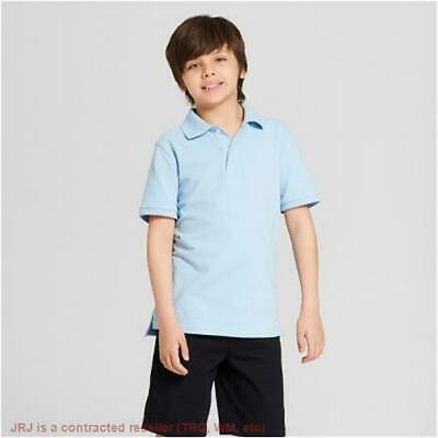 Boys' Short Sleeve Pique Uniform Polo Shirt - Cat & Jack Windy Blue M