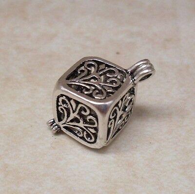 Antique Silver Filigree Cube Cage Locket   Pendant Charm Wish Prayer Box