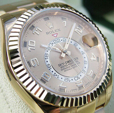 Rolex Sky Dweller 326938 Champagne Sunray Dial 42mm Mens 18k Yellow Gold Watch