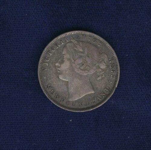 CANADA - NEWFOUNDLAND VICTORIA  1865  20 CENTS SILVER COIN, VF