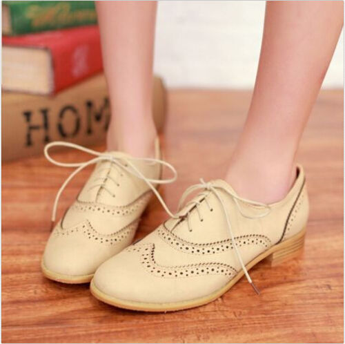 c4abbef737 Brogue Women Lace Up Wing Tip Oxford College Style Flat Fashion ...