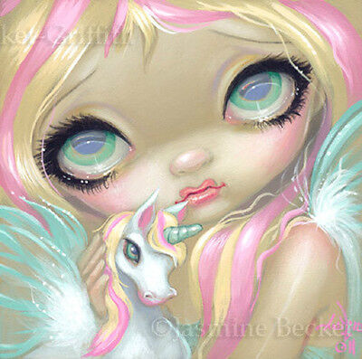 Fairy Face 178 Jasmine Becket-Griffith Unicorn Pegasus Fairy SIGNED 6x6 PRINT