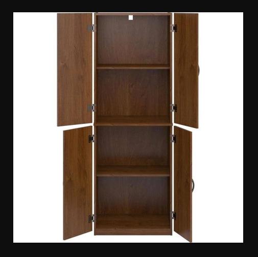 Food Pantry Storage Kitchen Brown Cabinet 4 Door Cupboard Or