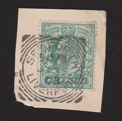 "GB ----- KEVII, Postmark,  Squared Circle  ""SEAFORT, LIVERPOOL"" , green,  Used"
