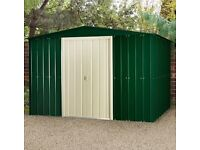 Lotus 10 x 12 apex metal shed in heritage green sliding door brand new