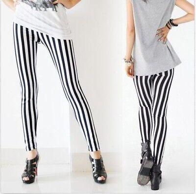 Womens Black & White Stripe Leggings Skinny Slim Trousers Pants Lady Workout USA