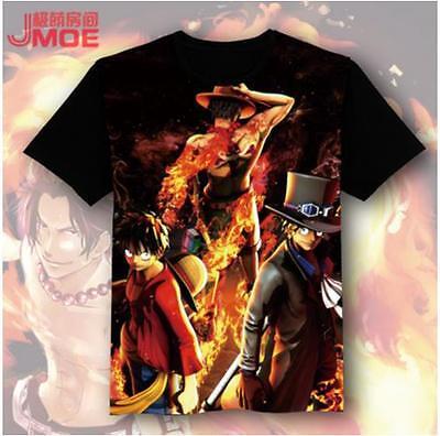 Cosplay One Piece D.Ace Luffy Sabo Anime Manga T-Shirt Kostüme Schwarz - Ace One Piece Kostüm