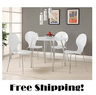 - White Dining Table Set Round Kitchen Furniture Chairs Retro Wood Modern Dinette