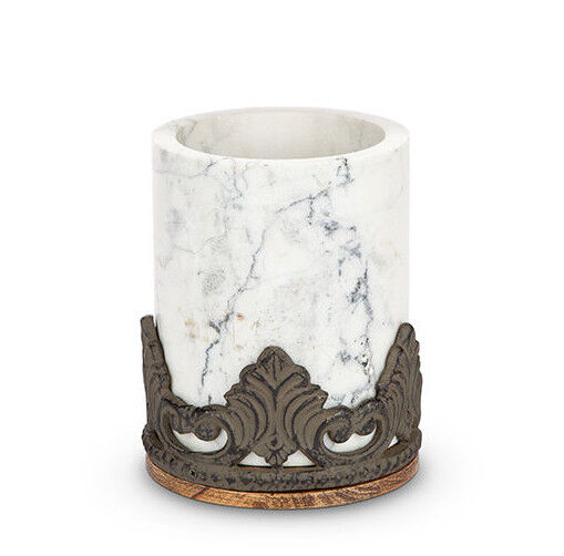 The GG Collection Antiquity Marble Wood Utensil Holder