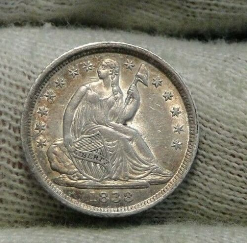 1838 Seated Liberty Half Dime H10C  Nice Coin, Free Shipping (8678)