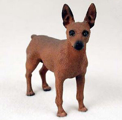 MIN PIN MINIATURE PINSCHER DOG Figurine Statue Hand Painted Resin Gift red
