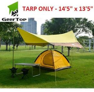 NEW GEERTOP WATERPROOF TENT TARP 250469382 145x135 RAIN FLY SUN SHELTER CAMPING 4-7 PERSON COVERAGE