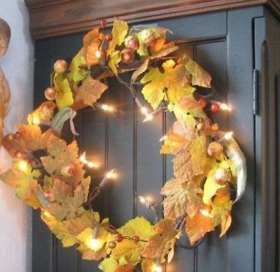 Fall Leaves 16 inch Autumn Wreath and Acorns Lights Up Halloween Thanksgiving