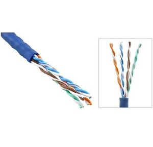 1000' Ft Bulk CAT5 CAT5E 24 AWG UTP Twist Pair Solid Network Ethernet Cable Blue