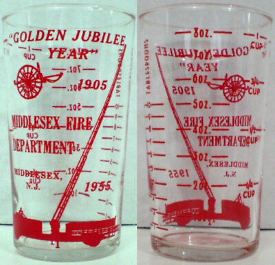 Middlesex Fire Department Advertising Measuring Glass