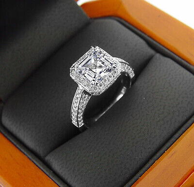 2.25 ct. Asscher Cut Halo Micro Pave Diamond Engagement Ring GIA I, VS1 18k WG