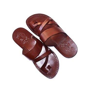 New Brown Biblical Sandals 100% Leather Jesus Strap Sandal Shoes Men Size 6-12