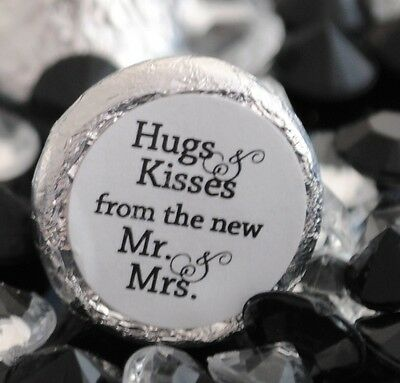 108 Hugs & Kisses from the new Mr. & Mrs. Hershey Kiss Wedding Stickers Favors Kisses Wedding Favors