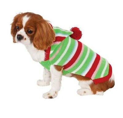 Candy Striped Pet Dog Beagle Corgi Puppy Sweater Costume hoodie, Size: L, NEW](Corgi Dog Costumes)