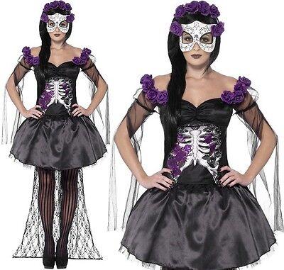 Halloween Kostüm Damen Tag der Toten Senorita Skelett Kostüm Smiffys