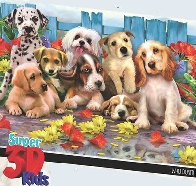 - Jigsaw Puzzle Animal Dog Who Dunit Lenticular 3D 48 pieces NEW
