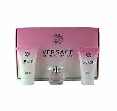 Versace Bright Crystal 5 ml edt splash Perfume + gel & body lotion mini gift set