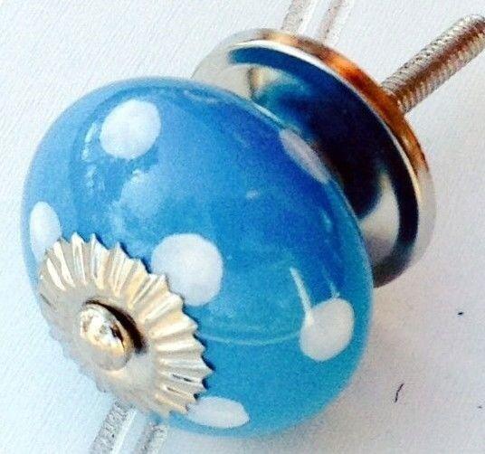 8 Aqua Blue Ceramic Cabinet Knobs Drawer Pulls Closet Door Handles ...