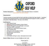 Volunteer: Oxford Self-Help Network, Woodstock