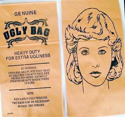 WOMAN UGLY BAG MASK, BROWN PAPER. Set of 3, free USA shipping