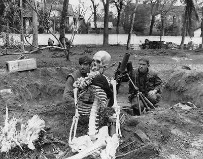 Vietnam War USMC Mortar Crew and Mascot During Tet HUE 1968 8.5x11 Photo