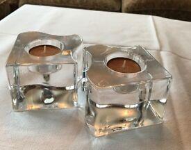 Orrefors Votive Candle / Tea Light Holders - pair, Crystal Glass