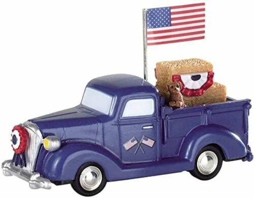 lemax Patriotic Pickup blue truck ~ NIP-retired design