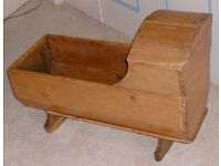 Antique Victorian Pine Farmhouse Rocking Crib / Cradle.
