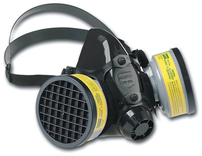 North 7700 Half Face Respirator, 7700-30S W/ 1 PR N7500-3 OV/AG Filter, SMALL Business & Industrial