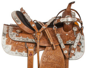 "Western Silver Show Saddle Tan Leather Hand Tooling Horse 16"" in"
