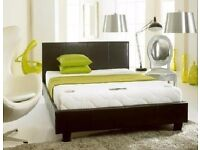 """Black and Brown Faux Leather Finish -Double Leather Bed With Mattress--10"""" Thick Full Foam Mattress"""