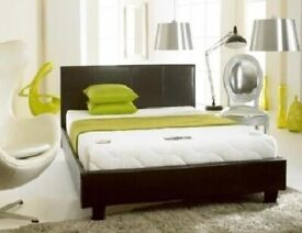 💛💛Immediate Dispatch💛💛Double Leather Bed Frame With Mattress -- Order Now - Black / Brown