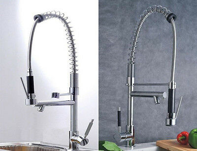 Kitchen Single Handle Pull Down Pre-rinse Spring Faucet Two Swivel Spouts