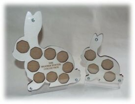 Beatrix Potter 50p Coin Collection Holders Large and Small Peter Rabbit Wood *Easter Present*