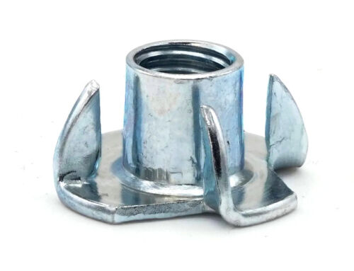 """T Nut Zinc Plated Steel Tee Nuts 4 Prong & 3 Prong Barrel Nuts - #6-32 - 3/8""""-16"""
